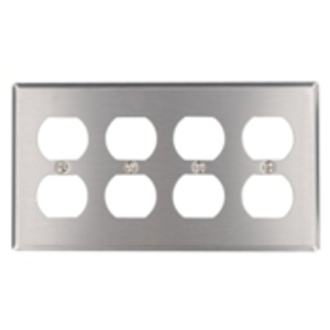 Leviton 84041-40 Duplex Receptacle Wallplate, 4-Gang, 302 Stainless Steel