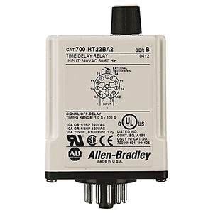 Allen-Bradley 700-HT22CU24 Timing Relay, 11-Pin, Tube Base, Off-Delay, 24VDC, 2PDT