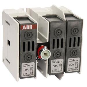 ABB OS30FAJ12 Disconnect Switch, Fused, 30A, 3P, 600VAC, Base/DIN Rail Mount