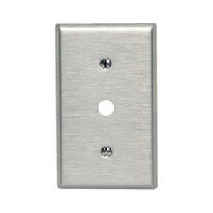 "Leviton 84018-40 Phone/Cable Wallplate, 1-Gang, .406"" Hole, 302 SS"