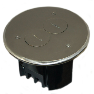 Allied Moulded FB-3N Floor Box Assembly, Includes Duplex Receptacle, Nickel Floor Plate