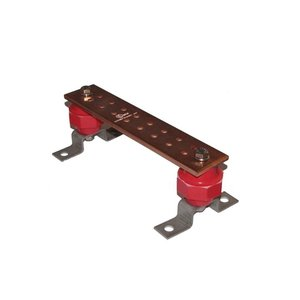 "Burndy BBB14210A Busbar, 1/4 x 2 x 10"", 16-Hole, Copper"