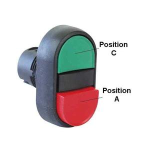 Allen-Bradley 800FP-U2X Push Button, Multi-Function, Extended, Black/White, Plastic