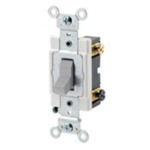 Leviton CSB2-20G 2-Pole Switch, 20 Amp, 120/27V, Gray, Back/Side Wired, Commercial