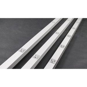 """Wiremold AL20GBA606 Plugmold Outlet Strip, Aluminum, 12 Outlets, 3' Long, 6"""" Centers"""