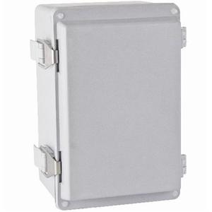 "Hoffman A1287JFGQRR Junction Box, NEMA 4X, Hinged Cover, 11.5"" x 8"" x 6.78"", Gray, Fiberglass"
