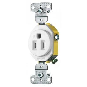 Hubbell-Wiring Kellems RR151WTR Tamper Resistant Single Receptacle, 15A, 125V, White