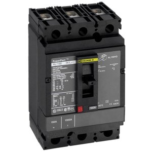 Square D HDL36125 Breaker, Molded Case, 125A, 3P, 600VAC, 25-14kAIC, PowerPact