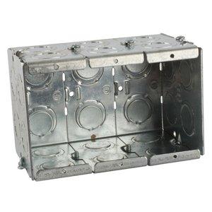 "Steel City GW-335-G Masonry Box, 3-Gang, 3-1/2"" Deep, 1/2"" & 3/4"" KOs, Steel"