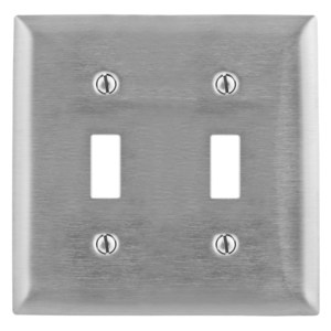 Hubbell-Kellems SS2 Toggle Switch Wallplate, 2-Gang, Stainless Steel