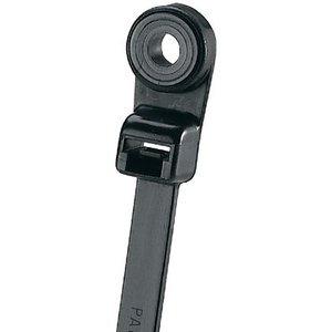 """Panduit PLC2S-S10-C0 Screw Mount Cable Tie, 7.9"""" Long, UV Nylon, Black, 50lb Rating, 100/PK"""