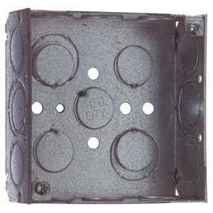 "Steel City 521511234EW 4"" Square Box, Welded, Metallic, 1-1/2"" Deep"