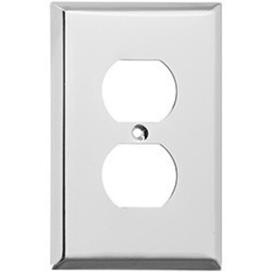 Mulberry Metal 97101 Duplex Receptacle Wallplate, 1-Gang, Stainless, Satin