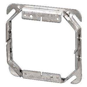 "Steel City 52-C-53-1-1/2 4"" Square Cover, 2-Device, Mud Ring, 1-1/2"" Raised, Drawn, Metallic"