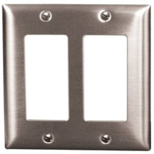 Hubbell-Kellems SS262 Decora Wallplate, 2-Gang, 302 Stainless Steel