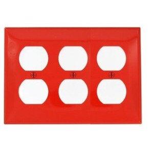 Leviton 80730-R Duplex Receptacle Wallplate, 3-Gang, Nylon, Red