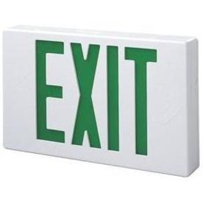 All-Pro Lighting APX7G Exit Sign, Self-Powered, LED, White, Green Letters, 120/277V