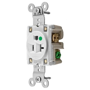 Hubbell-Wiring Kellems HBL8310W Hospital Grade Single Receptacle, 20A, 125V, White