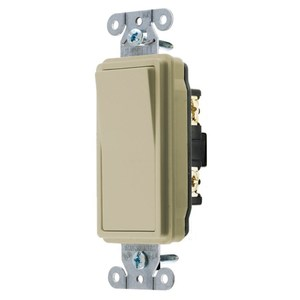 Hubbell-Kellems DS115I Decora Switch, 15A, 120/277V, Ivory, Single-Pole