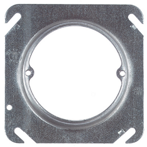 "Steel City 52C31/2-25 4"" Square Fixture Cover, Mud Ring, 1/2"" Raised, Drawn, Metallic"