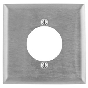 """Hubbell-Kellems SS702 Single Receptacle Wallplate, 2-Gang, (1) 2.16"""" Hole, Stainless Steel"""