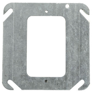"Steel City 52-C-0 4"" Square Cover, 1-Device, Mud Ring, Flat, Drawn, Metallic"