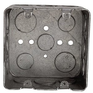 "Steel City 2G4D-1/2-3/4 4"" Square Box, Welded, Metallic, 2-1/8"" Deep"