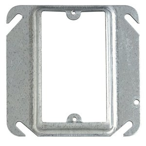 "Steel City 52-C-13 4"" Square Cover, 1-Device, Mud Ring, 1/2"" Raised, Drawn, Metallic"