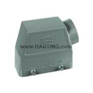 Harting 09300240520 Metal Hood/Housing, Side Entry, Size: 24B, Aluminum/Powder Coated