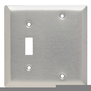 Hubbell-Wiring Kellems SS113 Combo Wallplate, 2-Gang, Toggle/Blank, Stainless Steel, Standard