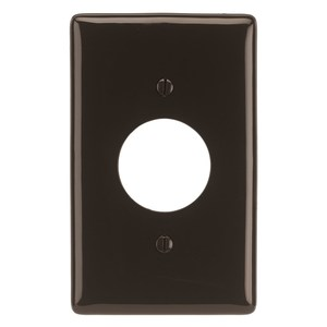 "Hubbell-Wiring Kellems NP7 Single Receptacle Wallplate, 1-Gang, 1.40"" Opening Nylon, Brown"