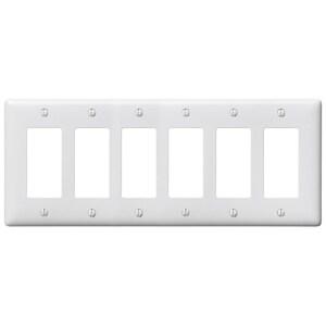Hubbell-Bryant NP266W Decora Wallplate, 6-Gang, Nylon, White