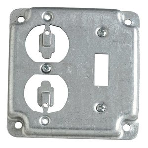 """Steel City RS-2 4"""" Square Exposed Work Cover, (1) Duplex Receptacle"""