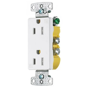 Hubbell-Wiring Kellems RRD15SWTR Tamper Resistant Decora Duplex Receptacle, 15A, 125V, White