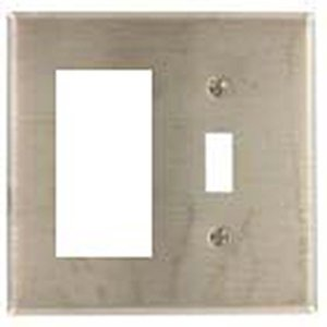 Mulberry Metal 97432 2-Gang Wallplate, Decora/Toggle, Stainless, White