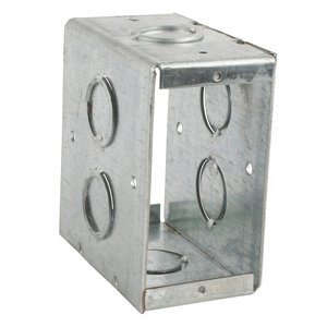 "Steel City CBTW-4 Masonry Box, 3-1/2"" Deep, 1/2"" and 3/4"" KOs, Steel"