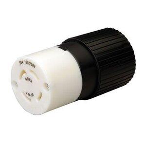 Reliance Controls L1430C Locking Connector, 30A, 250V, L1430C, Black/White