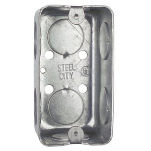 "Steel City 58361-3/4 Handy Box, 1-7/8"" Deep, 3/4"" KOs, Drawn, Steel"
