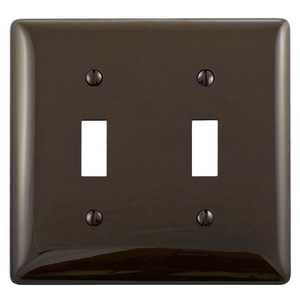 Hubbell-Bryant NP2 Toggle Switch Wallplate, 2-Gang, Nylon, Brown