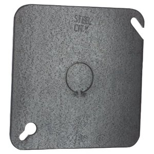 "Steel City 72-C-6 4-11/16"" Square Cover, Flat, 1/2"" Knockout in Center"