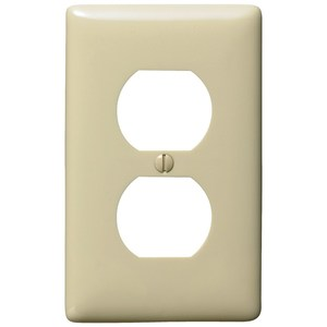 Hubbell-Bryant NPJ8I Duplex Receptacle Wallplate, 1-Gang, Nylon, Ivory, Mid-Size