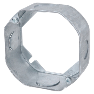"Steel City 55151-1/2-3/4 4"" Octagon Box Extension Ring, 1-1/2"" Deep, 1/2"" & 3/4"" KOs, Steel"
