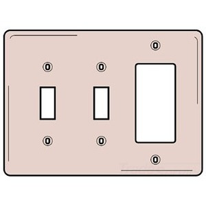 Hubbell-Bryant NP226W Combination Wallplate, 2-Toggle, 1-Decorator, White