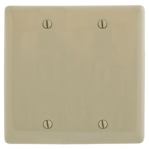 Hubbell-Bryant NP23I Blank Wallplate, 2-Gang, Nylon, Ivory, Box Mount