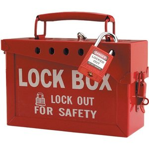 Brady 51171 Lock Box /lockout For Safety, Red, Steel