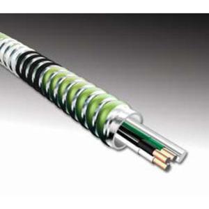 AFC 5804-60-00 MC Cable, Aluminum Flex, 12/2 Solid, Black/White, 1000'