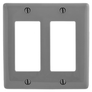 Hubbell-Bryant NP262GY Decora Wallplate, 2-Gang, Nylon, Gray