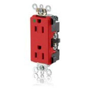 Leviton 16262-SGR 15 Amp, 125 Volt, Hospital Grade Receptacle, Red