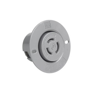 Pass & Seymour 7557-SS Flanged Outlet, Non-NEMA, 10/15A, 125/250V, Gray