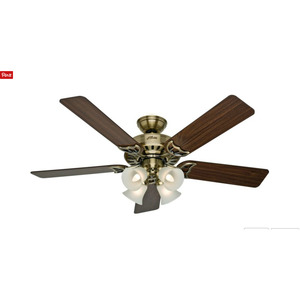 "Hunter Fans 20182 52"" ANTIQUE BRASS WITH 5"